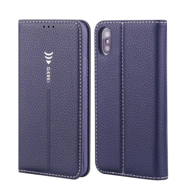 GEBEI iPhone XS Max XR X 8 7 6 6S Plus 5 5S 5C SE Luxury Leather Flip Unique Magnet Design Cover - Casebuddy