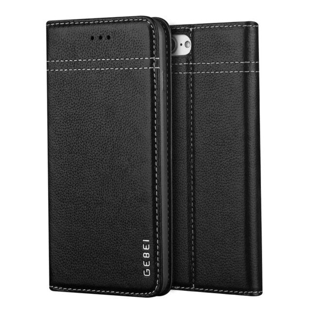 GEBEI Luxury Genuine Leather Magnetic Flip Wallet Case iPhone XS Max XR X 6 6S 7 8 Plus Case Cover - Casebuddy