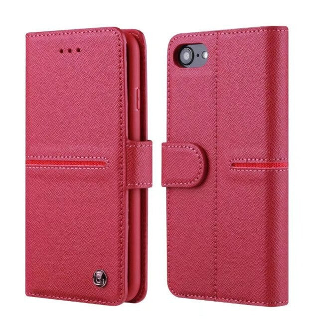 GEBEI Luxury Genuine Leather Wallet Flip Case Cover Apple iPhone 6 6s Plus Cases With Stand