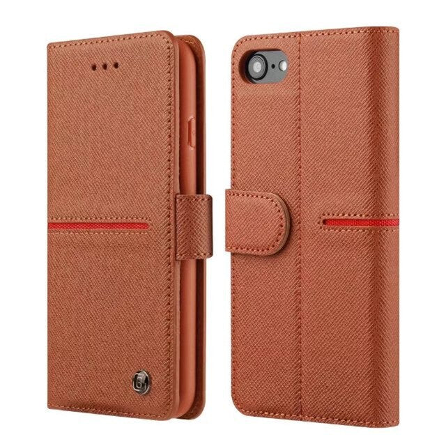 GEBEI Luxury Genuine Leather Wallet Flip Case Cover Apple iPhone 6 6s Plus Cases With Stand - Casebuddy
