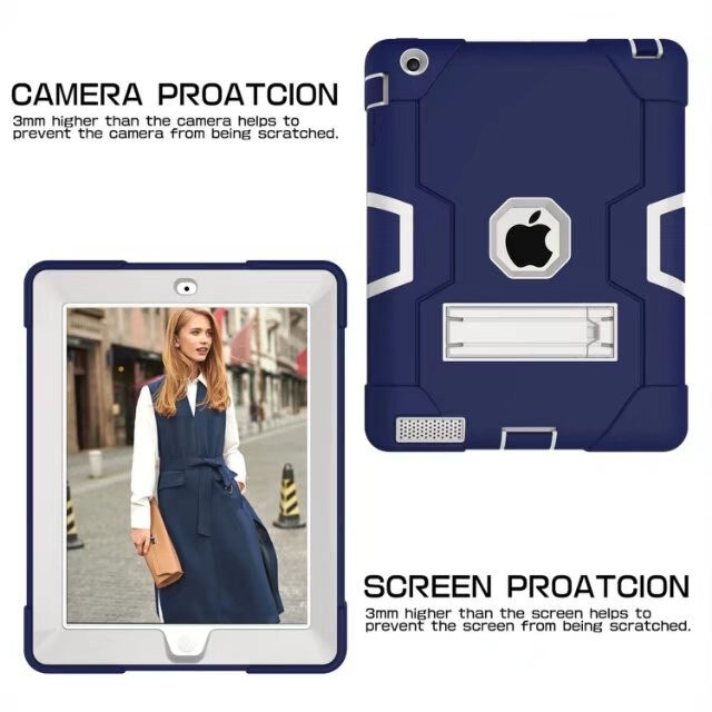 For Apple iPad 2 3 4 Kids Safe Armor Shockproof Heavy Duty Silicon+PC Stand Back Case Cover - Casebuddy