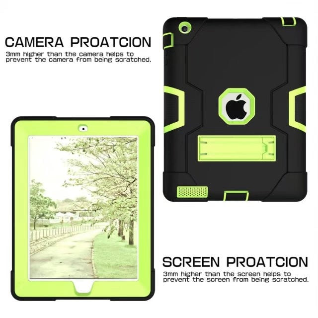 For Apple iPad 2 3 4 Kids Safe Armor Shockproof Heavy Duty Silicon+PC Stand Back Case Cover