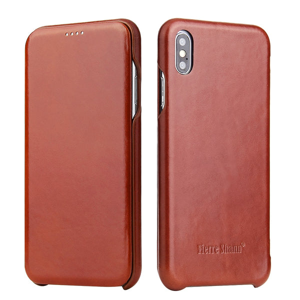 Fierre Shann iPhone Xs Max XR X 8 7 6 6s Plus Classical Fashion Genuine Leather Shell Flip Cover - Casebuddy