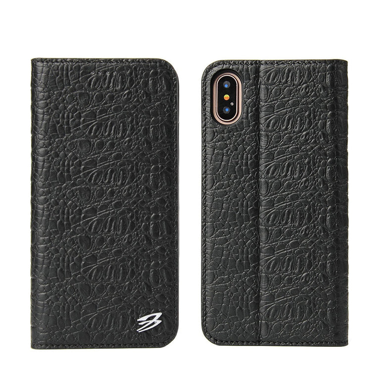 Fierre Shann Cowhide Small Crocodile Card Holder Case iPhone 6 6S 7 8 Plus X XS Slim Handmade Bracket Cover