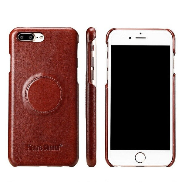 Fierre Shann Magnetic Genuine Leather Case iPhone 8 7 6 6S Plus Luxury Magnet Cover Car Holder - Casebuddy