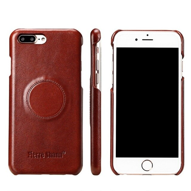 Fierre Shann Magnetic Genuine Leather Case iPhone 8 7 6 6S Plus Luxury Magnet Cover Car Holder