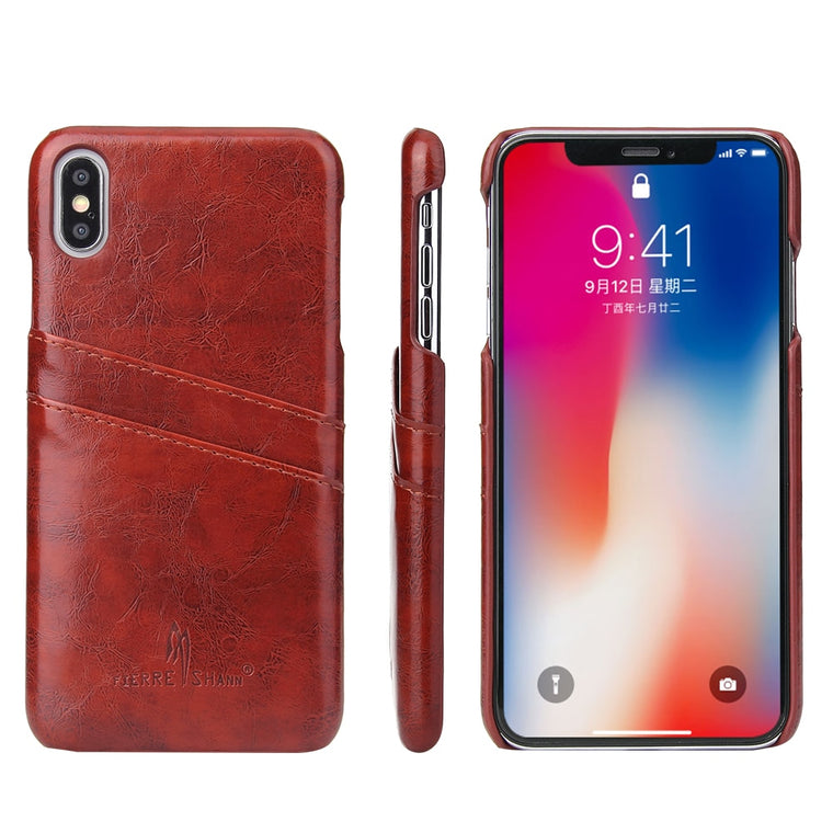 Fierre Shann iPhone XR XS Max X XR SE 8 7 6 6S Plus Case Back Cover Oil Wax Leather Card Slot