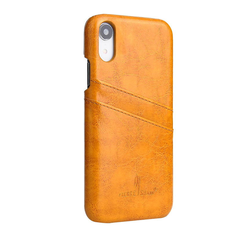 Fierre Shann iPhone XR XS Max X XR SE 8 7 6 6S Plus Case Back Cover Oil Wax Leather Card Slot - Casebuddy