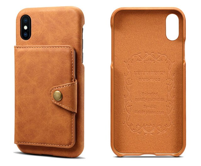 Luxury Genuine Leather Case iPhone X XS Max XR 6 7 8 Plus Flip Card Protective Back Cover Wallet Card Slots