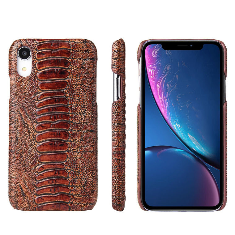Fierre Shann Luxury Amber Pattern Genuine Leather Case iPhone 8 7 6 6S Plus XR XS Max X7 Back Cover