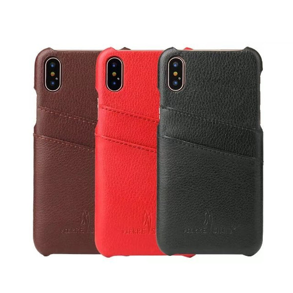 Fierre Shann iPhone Xs X 8 7 6 6s Plus Vintage Luxury Litchi Genuine Leather Case Back Cover With Card Slots - Casebuddy