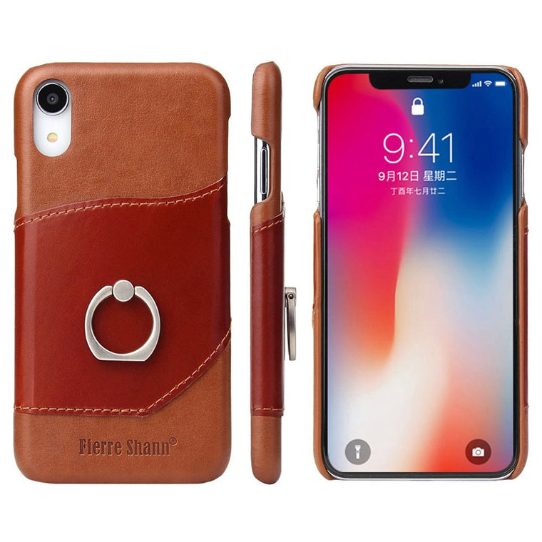 Fierre Shann Luxury Case iPhone XS Max XR X 8 7 6 6S Plus Fashion Genuine Leather Wallet Bracket Ring Cover