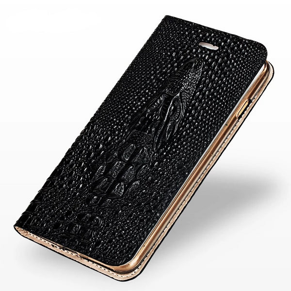 Flip Card stand cover Samsung S10 S8 S9 Plus S7 Edge A50 A70 A8-2018 J7 Crocodile skull Genuine Leather Case - Casebuddy