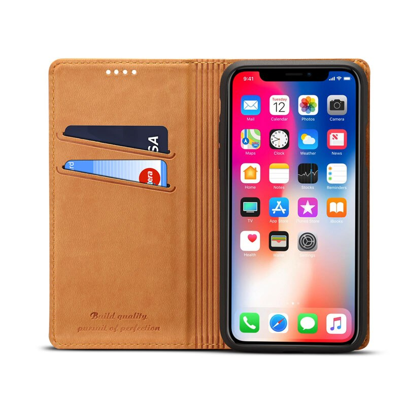 Luxury Case For iPhone XS Max XR XS 6 7 8 Plus Fashion VIntage Leather Flip Wallet Cover