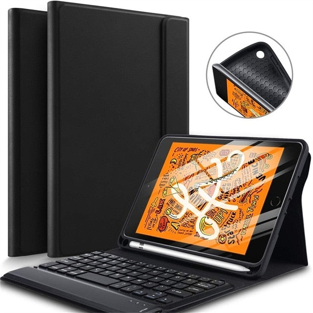 iPad Air 3 10.5 Case Keyboard Stand Cover With Pencil Holder Stand Slim Matt Leather - Casebuddy