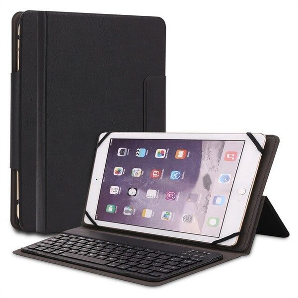 Wireless Bluetooth 3.0 Aluminum Alloy Keyboard Leather Univeral Case iPad 4 2 3 Pro 9.7 Air 2 1 10.5""