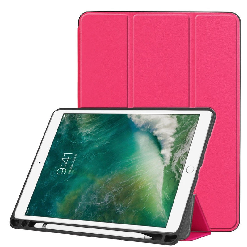 New iPad Air 3 2019 10.5 inch Tri-fold Stand Premium Custer Leather Smart Cover Soft TPU Case Build-in Pencil Holder - Casebuddy