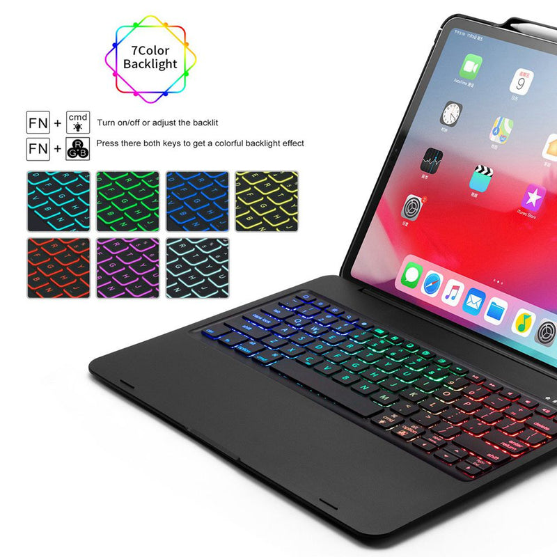 iPad Pro 12.9 2018 3rd 360 Degree Swivel LED Backlight Wireless Bluetooth Keyboard Case Stand Cover - Casebuddy