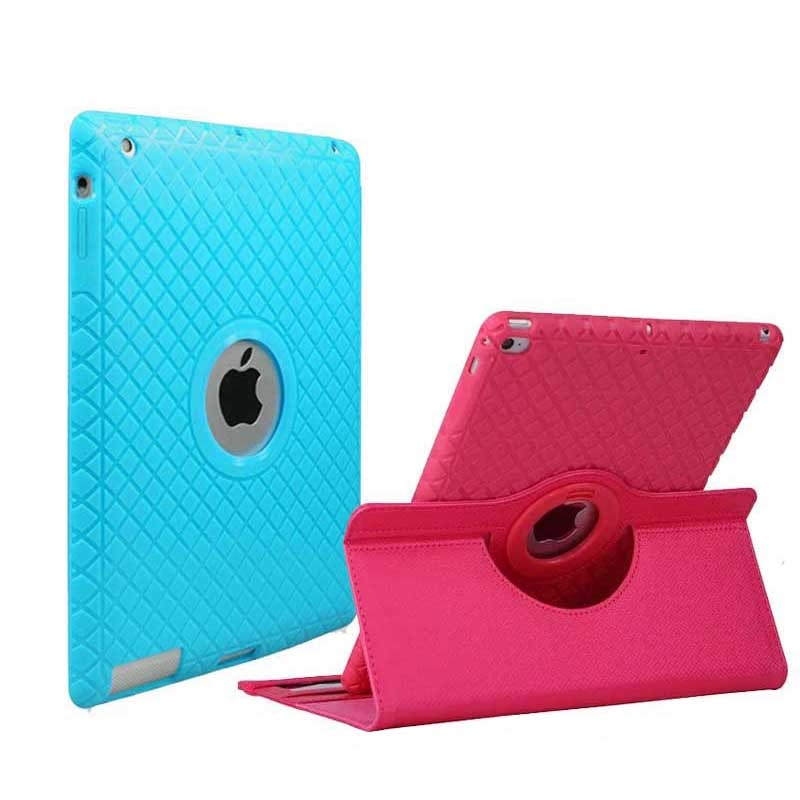 360 Degree Rotating Silicon Leather Smart Cover Case for Apple iPad Air 1 Air 2 5 6 New iPad 9.7 2017 2018
