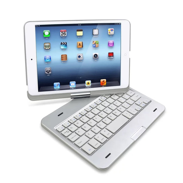For Apple Pad min 1 2 3 Luxury Bluetooth ABS Keyboard & 360 ROTATING Swivel ABS Shell Case Cover With Stand - Casebuddy
