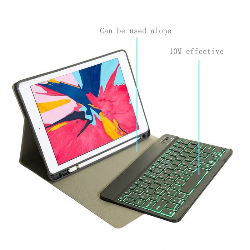 iPad 9.7 2018 2017 / Pro 9.7 / Air2 / Air 5th 6th Generic Version Bluetooth Keyboard Case Cover with 7Color Backlight - Casebuddy