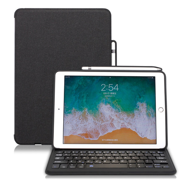 For iPad 9.7 2017 2018 Case Keyboard with Pencil Holder Stand Cover Support Apple Pencil Wireless Charging - Casebuddy
