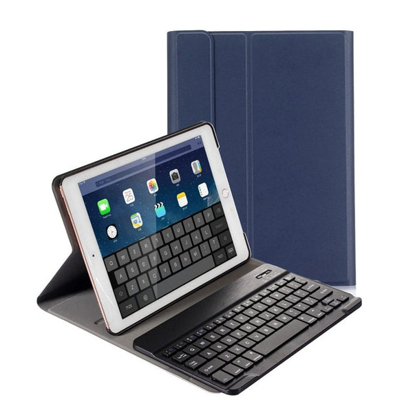 For iPad 9.7 2017 2018/Pro 9.7/iPad Air 1 &2 Ultra Thin PU Leather Case Cover Removable Bluetooth Keyboard - Casebuddy