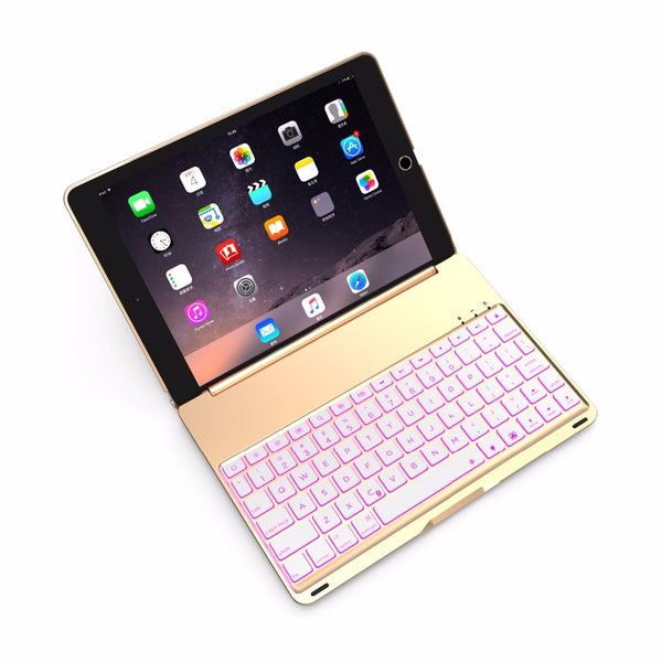 7 Colorful Aluminum Wireless Bluetooth Keyboard Cover Case for Apple iPad 9.7 2017/2018 5th 6th Generation - Casebuddy