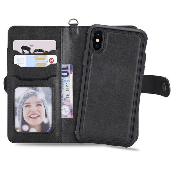 PU Leather 2 in 1 Magnetic Detachable Flip Cover For iPhone 6S 6 8 7 Plus X Case Wallet - Casebuddy