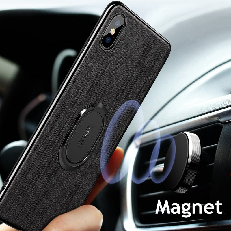Luxury Magnet Case iPhone 6 s 6s 8 7 plus Car Finger Bracket Hard Cover For iphone XS Max XR X - Casebuddy