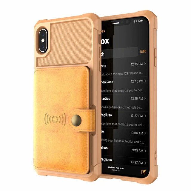 Luxury PU Leather Wallet iPhone XS XR XS Max 7 8 6 6S Plus Cases Wallet Flip Cover Buckle - Casebuddy