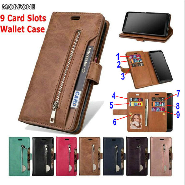 Luxury Zipper Wallet 9 Card Slots Leather Case Samsung Galaxy A30 A50 A70 M20 M30 A20E S10 Plus S10e Flip Stand Cover - Casebuddy