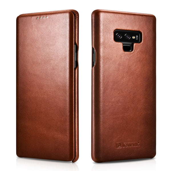 Slim Retro Cowhide Genuine Leather Flip Case Samsung Galaxy Note 9 8 S10 S9 S8 Plus Business Real Leather Smart - Casebuddy