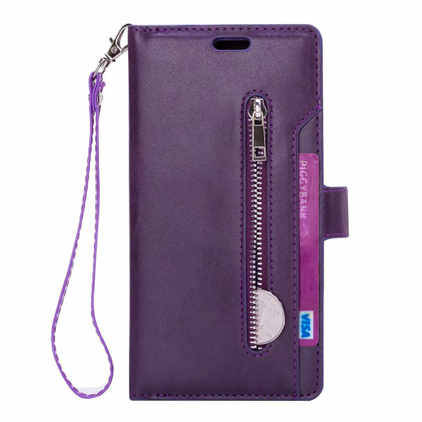 Zipper Leather Flip Samsung Note 9 8 S10 S9 S8 Plus S7 J3 J5 J7 A5 A7 2017 J4 J6 J8 A6 2018 Card Holder Magnetic Cover - Casebuddy