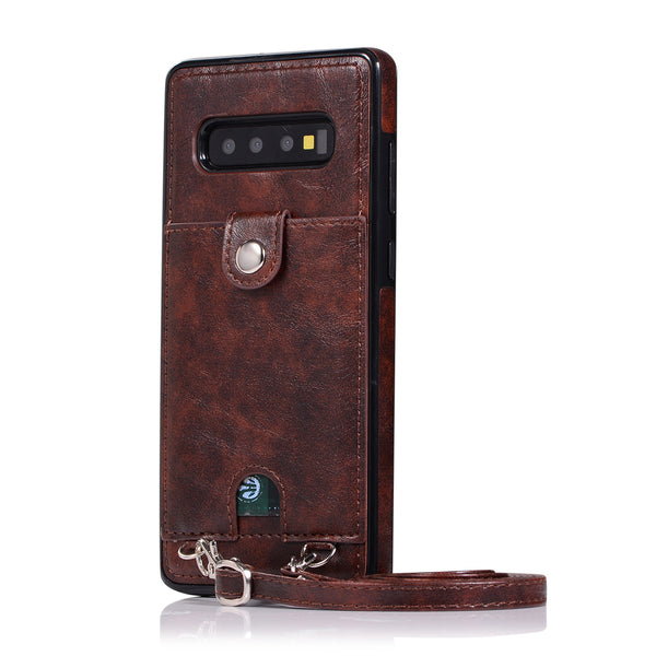 Samsung Galaxy S10E S10 S9 S8 Plus Note 8 9 Cases Card Leather Cover Wallet Strap Crossbody Long Chain - Casebuddy