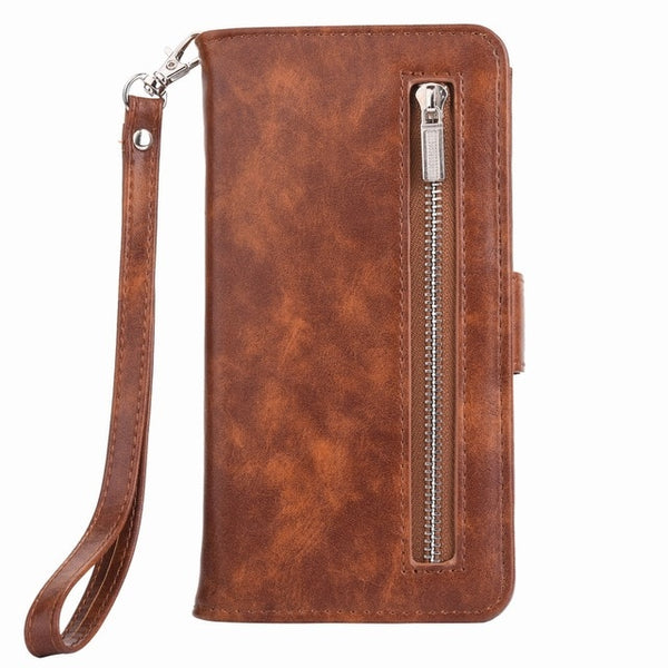 Multifunction Zipper Wallet Leather Case For Samsung Galaxy S10 Plus S10e Note 8 9 5 S8 S9 Plus S7 S7 Edge Cover - Casebuddy