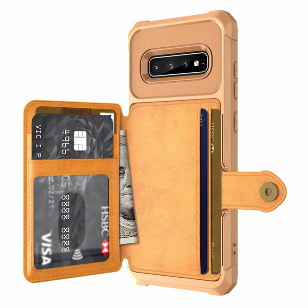 For Samsung Galaxy S10 S9 Plus S10e Note 9 Cover Leather TPU Anti Shock Impact Magnet Wallet Card Case - Casebuddy