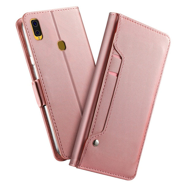 Leather Wallet Flip Stand Cover with Mirror and Card Holder for Galaxy A40 A30 A20 A50 A10 S10 Plus S10e Case - Casebuddy