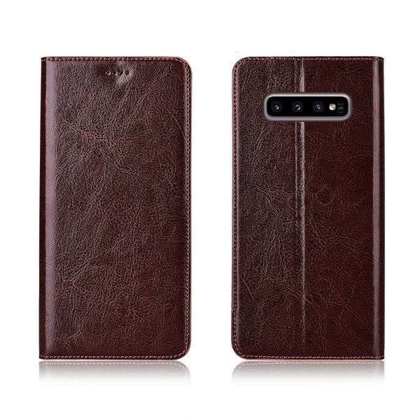 Genuine Cow Leather Case For Samsung Galaxy S10e S8 S9 S10 Plus Magnetic Case Stand Flip Retro Cover - Casebuddy