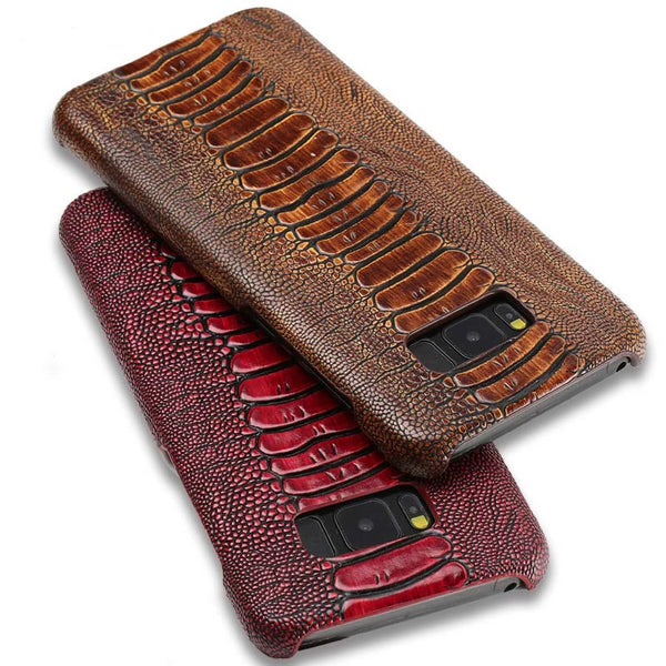 Ostrich Genuine Leather Case Samsung Galaxy S10 S8 S9 Plus S7 Edge A50 A70 A40 A10 A30 J6 A8 A7 A9 Note 8 9 - Casebuddy