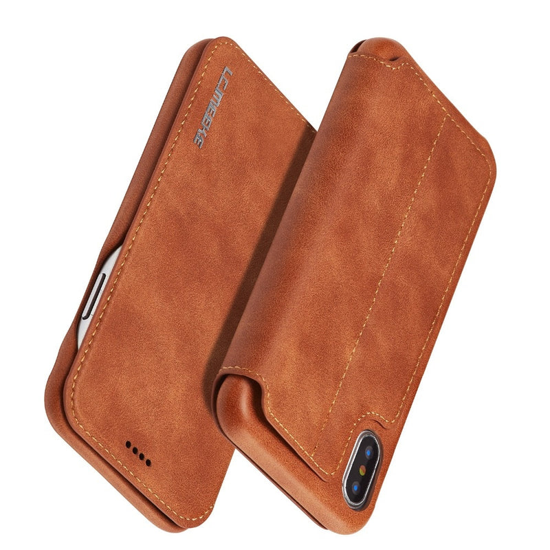 Leather Flip Cover iPhone 11 Pro Max XS Max XR X XS 8 7 6 6S Plus Case Card Slot Magnetic Cover Stand Holder - Casebuddy
