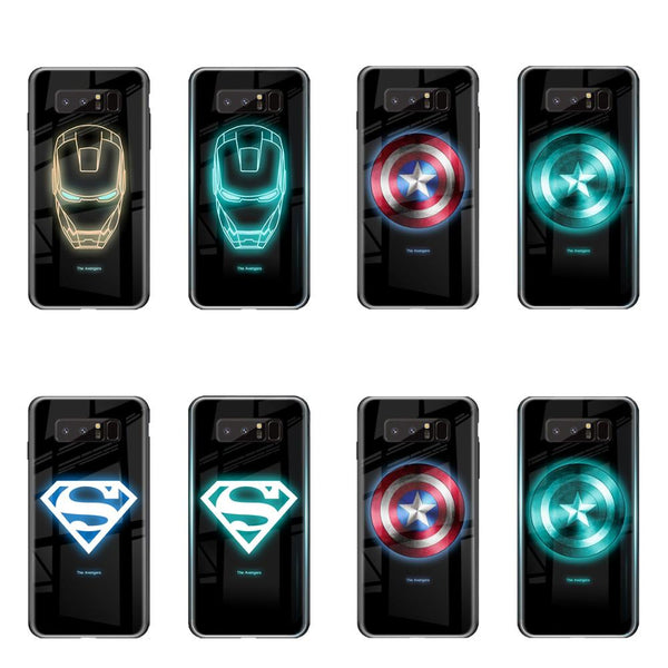 Marvel Iron Man Captain America Luminous Glass Case Samsung S10 S8 S9 Plus Note 8 9 J4 J6 J2 J5 J7 - Casebuddy