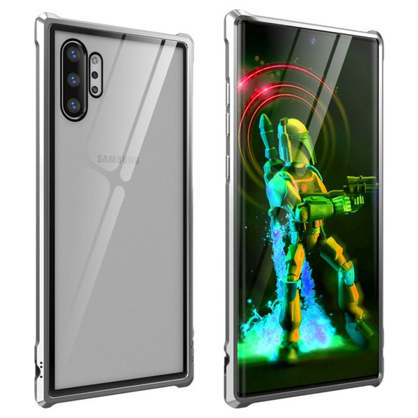 Luxury Explosion Proof Clear Tempered Glass  Metal Frame Case Samsung Galaxy Note10 Plus 5G Hard Protection Armor Case - Casebuddy