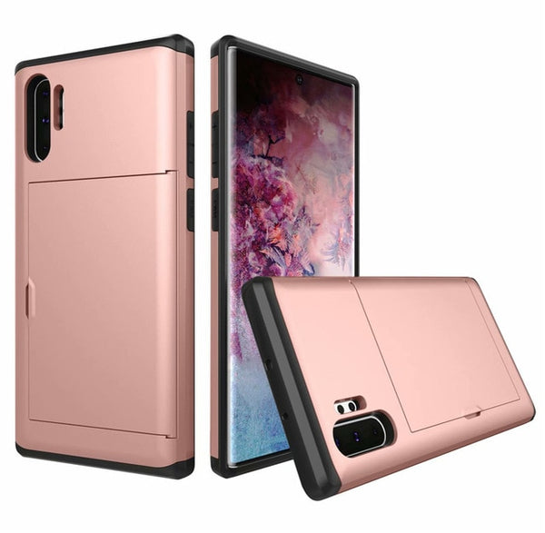 Armor Case Samsung Galaxy Note 10 Plus Case Slide Wallet Card Slot Holder Shockproof Shell Coque - Casebuddy