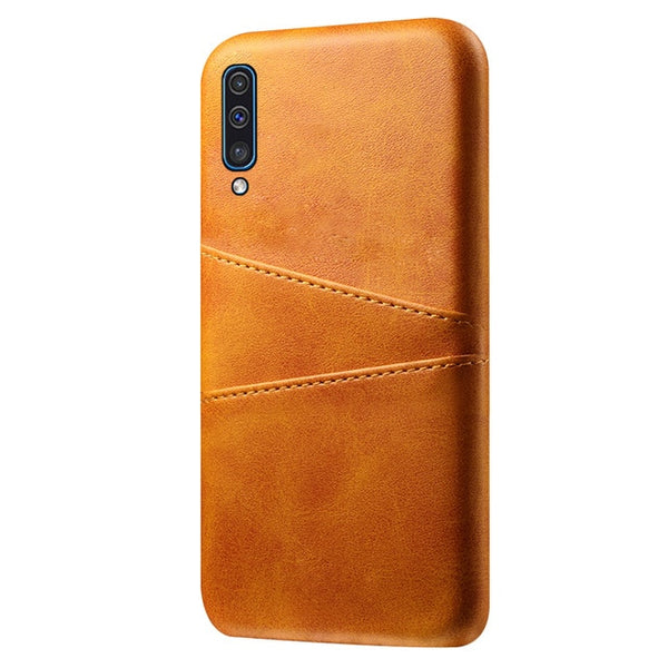 PU Leather Back PC Protective Fundas Cover Samsung Galaxy A80 A60 A40 A30 A20 A20e A10 A50 Note 10 Plus Case Card