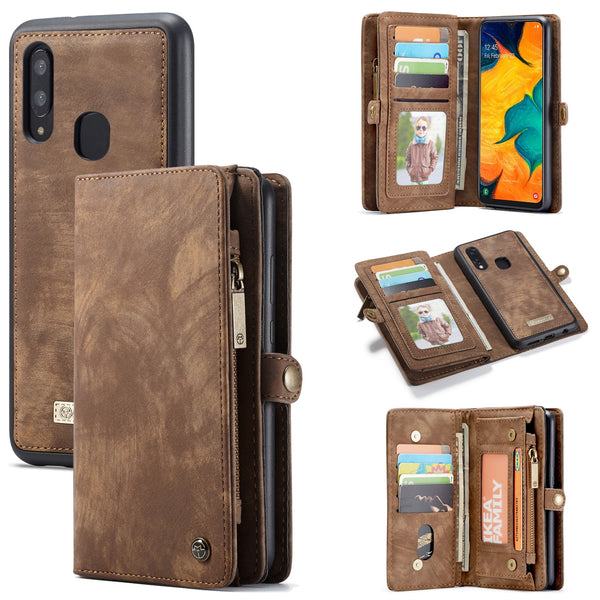 Zipper wallet retro leather case Samsung galaxy A20e A30 A40 A50 A70 A80 A90 Note 10 Plus 5G magnetic multifunction flip Case - Casebuddy