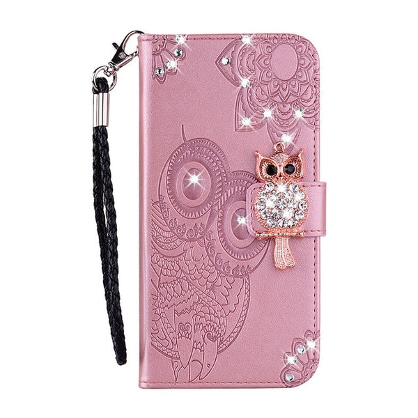 Bling Rhinestone Diamond Book Case Samsung Galaxy A20E A60 A80 Note 10 Plus S10 5G Luxury Leather Flip Cover - Casebuddy