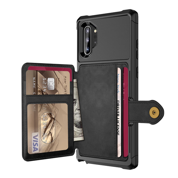 Samsung Galaxy Note 10 Plus 5G Credit Card Case PU Leather Flip Wallet Photo Holder Hard Back Cover - Casebuddy