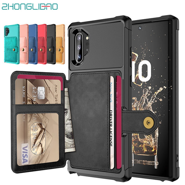 Wallet Case Samsung Galaxy Note 10 Plus 5G Multifunction Leather Card Holder Cover Hybrid Armor - Casebuddy
