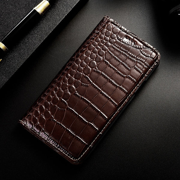 Crocodile Genuine Leather Case Samsung Galaxy S6 S7 edge S8 S9 S10 Plus S10E Note 8 9 10 Pro Flip Cover - Casebuddy